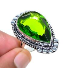 Peridot Gemstone Handmade Ethnic Fashion Jewelry Ring Size 7.5 SR-923