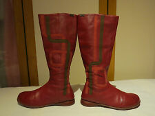 CAMPER TWINS SPANISH DESIGNER RED LEATHER KNEE HIGH FLAT BOOTS UK 5 /38 RRP £150