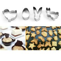4Pcs Stainless Steel Easter Bunny Egg Cookie Cutter Cake Decor Baking Mold Tool
