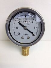"Vacuum Gauge: 0-30"" Hg Stainless Steel Liquid Filled 1/4"" male NPT Thread SVS."