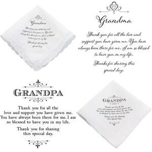 Wedding Handkerchief Grandma Grandpa Hanky Accessories Favour Gift