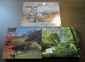 Lot Of 3 Vintage GOLDEN GUILD 500 Piece Puzzles NEW/Sealed  ~Landscapes~