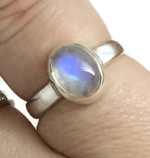 Rainbow Moonstone solid Sterling Silver ring, UK size N, Oval, New, UK.
