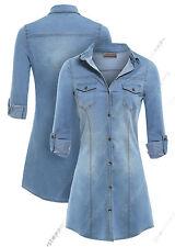 Size 8 10 12 14 NEW Womens Stretch Denim Shirt Dress Ladies Jean Dress Blue