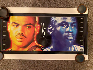 Original Vintage Nike Poster, Barkley vs Jordan, 1993. FREE INT.SHIPPING