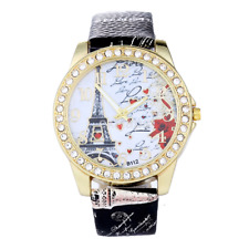 Classic Paris Eiffel Tower Leather Quartz Watch Women Casual Crystal Wristwatch