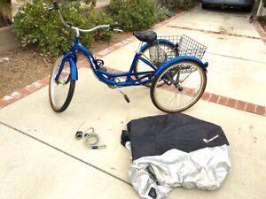 """Schwinn Meridian Tricycle Adult Bicycle Bike Trike W/Basket 26"""" Wheel Cruiser"""