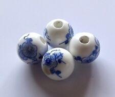 30pcs 10mm Round Porcelain/Ceramic Beads - White / Cobalt Blue Cherry Blossoms