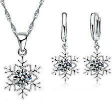 Strass Set Schneeflocke silber Halskette Ohrringe Eis Kristal Weihnachten Winter