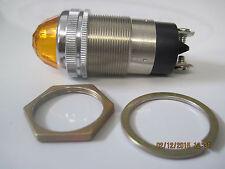 "DIALCO Dialight 1"" Amber Panel Lamp Holder 75W 125V Jewel Cut Lens Steampunk NOS"