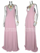 $2,900 GUCCI GOWN DUSTY ROSE FULL LENGTH SILK DRESS GOLDTONE DETAIL sz 44 / US 8