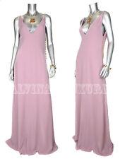 $2,900 GUCCI GOWN DUSTY ROSE FULL LENGTH SILK DRESS GOLDTONE DETAIL sz 44 / US 8