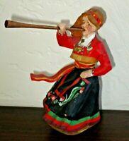 "Vtg Henning Hand Carved Bunad Prillar Guri Wooden Figure, Norwegian  6"" Tall"