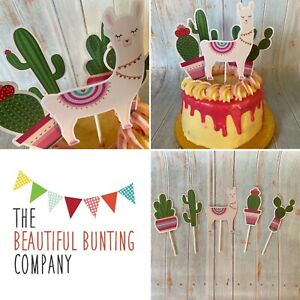 🌵🦙Alpacca/Lama/Cactus Cake Toppers Bright Party Mexican Fun Bday Celebrate🦙🌵