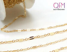 1m (3.28 Feet) Gold Filled Dapped Long & Short Sequin Chain Unfinished 2.2mm