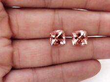 Natural Morganite Earring Gemstone 5 mm Square Cushion cut Matching pair clean