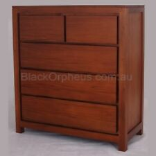 Timber Tallboy, Mahogany Chest of Drawers, 5 Drawer Storage Cabinet.