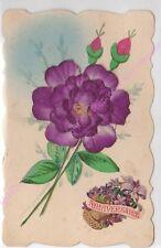 Cartolina Decoupis Anniversario Fiore Viola