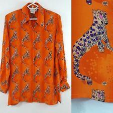 VTG Piano Women's Silk Shirt Size Medium Big Cat Jaguar Leopard Art to Wear
