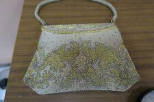 Vintage Art Deco Gold Silver Metallic Micro Beaded Handbag Purse