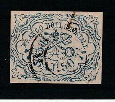 CE.114-Italy stamps,Stato Pontificio,Roman states,Sassone# 10,50 baj,certificate