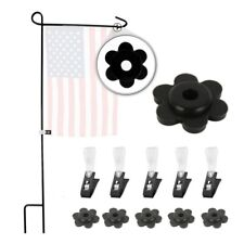 5Pcs Mini Garden Flag Pole Stand Flower Shape Rubber Stopper&Anti-wind Clips