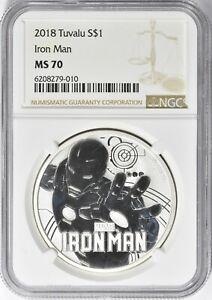 Tuvalu 2018 $1 Iron Man NGC MS-70 1oz Silver Coin