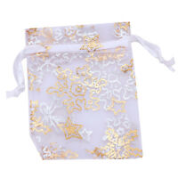 50x Hot Sale Nice Organza White Snowflake Wedding Favours/XMAS Gift Bags 5x7cm C