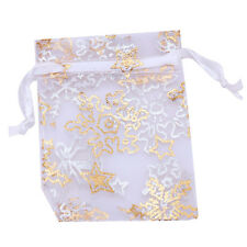 ON SALE 50x Nice Organza White Snowflake Wedding Favours/XMAS Gift Bags 5x7cm C