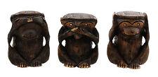 Statuette 3 Singes de la Sagesse en bois fait main 7.5 cm Inde 4722 CLO11