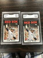(2) Jim Rice 1986 Topps 320 GMA 8.5 NM-MT+ Boston Red Sox, Comp PSA, BGS, SGC