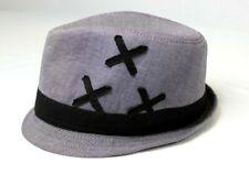 Mens Helix Gray Grey X Embellished Fedora Gangster Detective Hat M/L