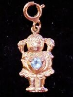 NEW Vintage Beverly Hills Gold 14K Gold Girl Aquamarine Heart Charm Pendant