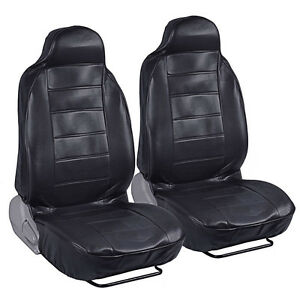 2pc Black PU Leather Car Seat Covers High Back Armrest Slot Premium Leatherette