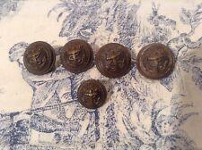 5 Vintage French Parisien Metal Buttons, Navel Uniform Buttons Paris (2881c)
