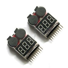2x 1s-8S Buzzer 2in1 RC Li-ion Lipo Battery Low Voltage Meter Tester Alarm