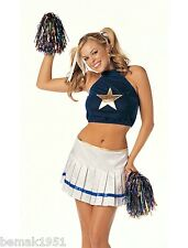 Sexy Cheerleader Costume Velvet Halter Crop Mini Top Skirt & Pom Poms S/M  7480