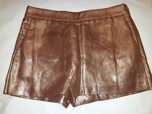 J Crew Gold Metallic Wrap Front Linen Dressy Shorts Womens sz 0 Nwt