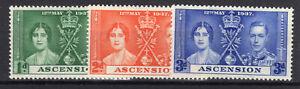 Ascension KGVI set of 3 Coronation MLH 1937 [A2009-2]