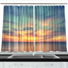 Ocean and Colorful Cloudy Sky Kitchen Curtains 2 Panel Set Decor Window Drapes
