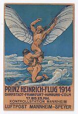 El príncipe enrique vuelo de mayo de 1914 correo aéreo Darmstadt, Fráncfort, Hamburgo, Colonia Vintage
