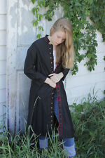 Antique Coat French jacket black cotton long religious or riding outfit buttons