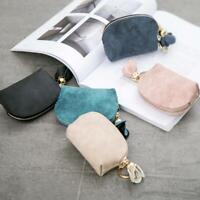 1xWomen PU Leather Small Mini Wallet Card Key Holder Zip Coin Purses Clutch Bags