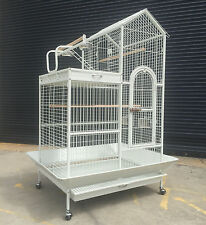 2 Storey White Parrot Aviary Bird Cage Perch Roof Budgie On Wheels 160cm A17