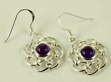 Earring Floral Circle Cut Drop With Amethyst Stone 20mm 925 Sterling Silver