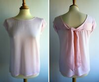 MASSIMO DUTTI Pink Top Blouse Tie Back Detail Size XS UK 10