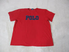VINTAGE Ralph Lauren Polo Shirt Adult 2XL XXL Red Blue Spell Out Mens 90s