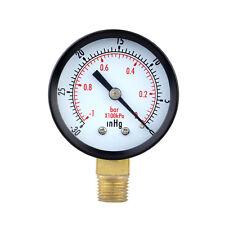 0~-30inHg 0~-1bar Mini Dial Air Pressure Gauge Meter Vacuum Manometer Double