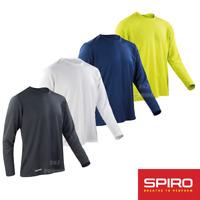 SPIRO MEN'S PRO SPORT TOP LONG SLEEVE SHIRT QUICK DRY RUNNING CYCLING GYM ACTIVE