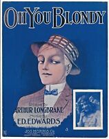 OH YOU BLONDY 1909 Antique Jenkins Art Illustrated BESSIE TOPS Sheet Music